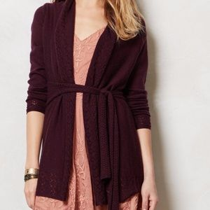 Anthropologie Wrap Cardigan Tie Waist Wool Medium